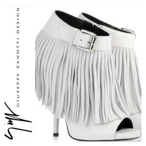 Giuseppe Zanotti White Fringe Heels Size 10
